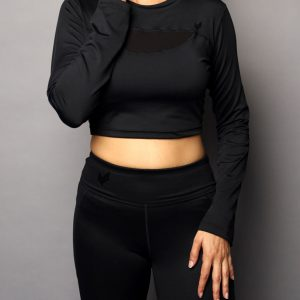Black Mesh Cropped Top Front